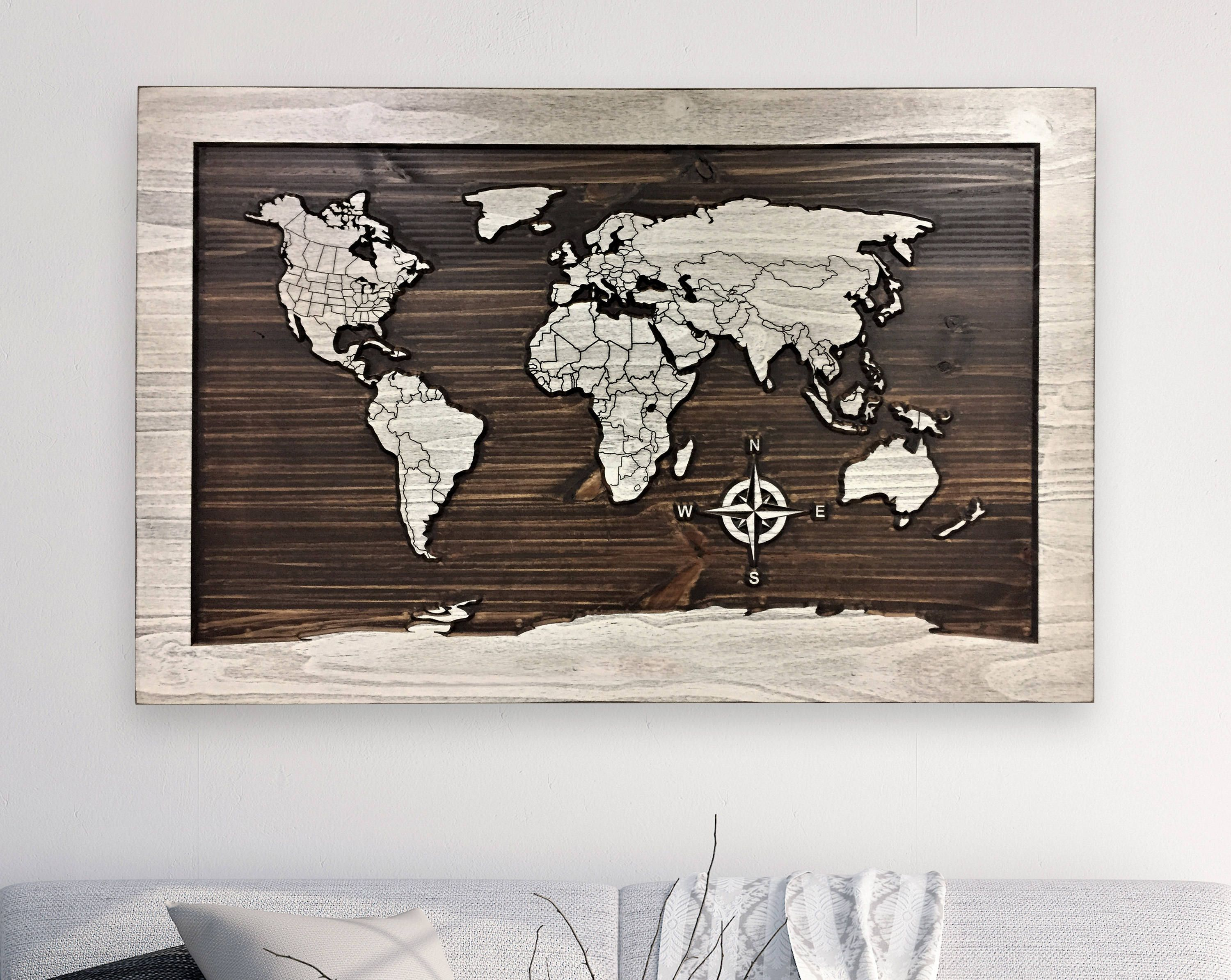 Home Wall Decor Idea Map Of World With Countries Wood Wall Art
