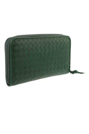 Bottega Veneta_Intrecciato Zip Around Long Wallet Green