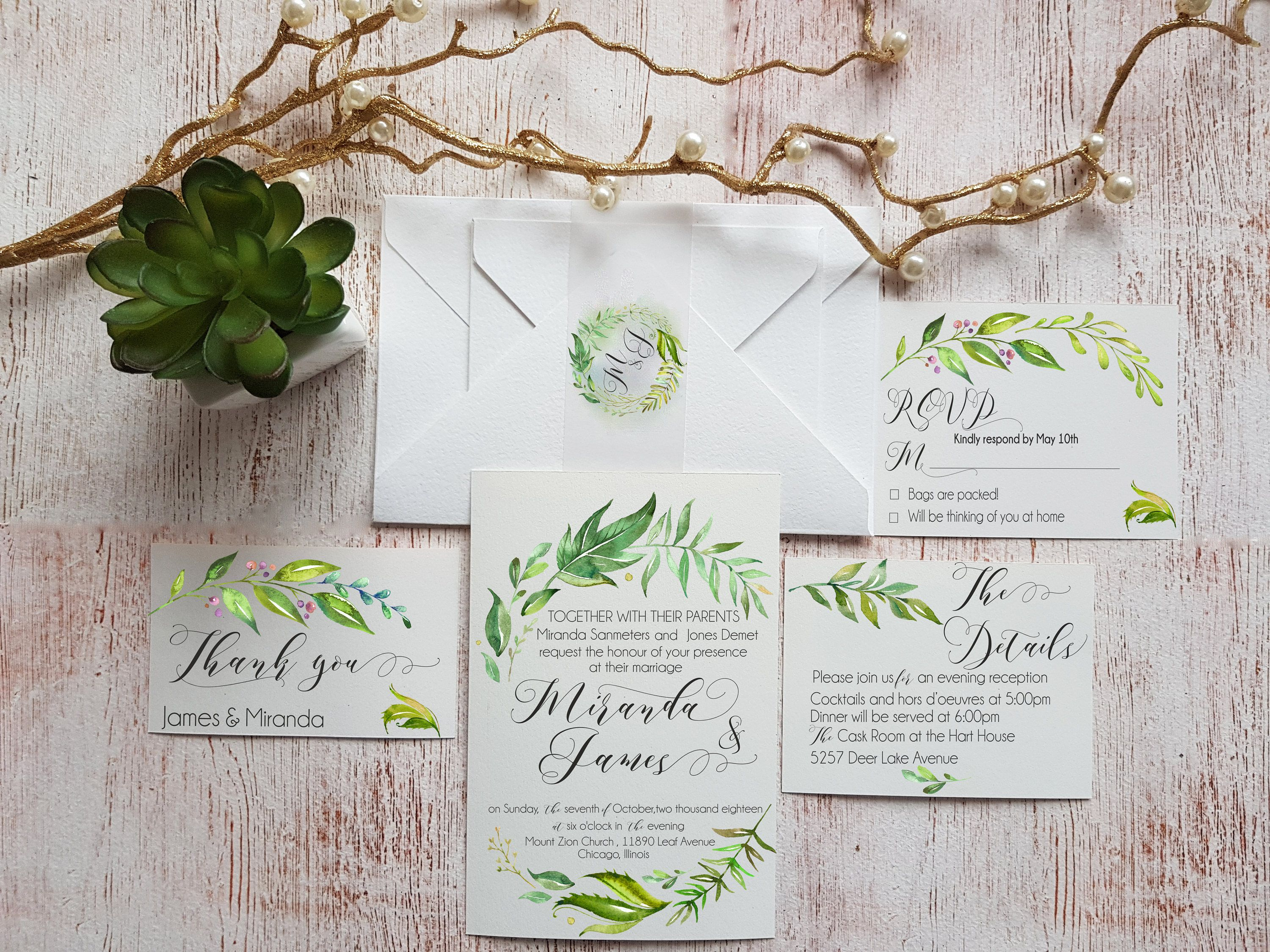 Greenery Wedding Invitations Suite Template Personalized Wedding