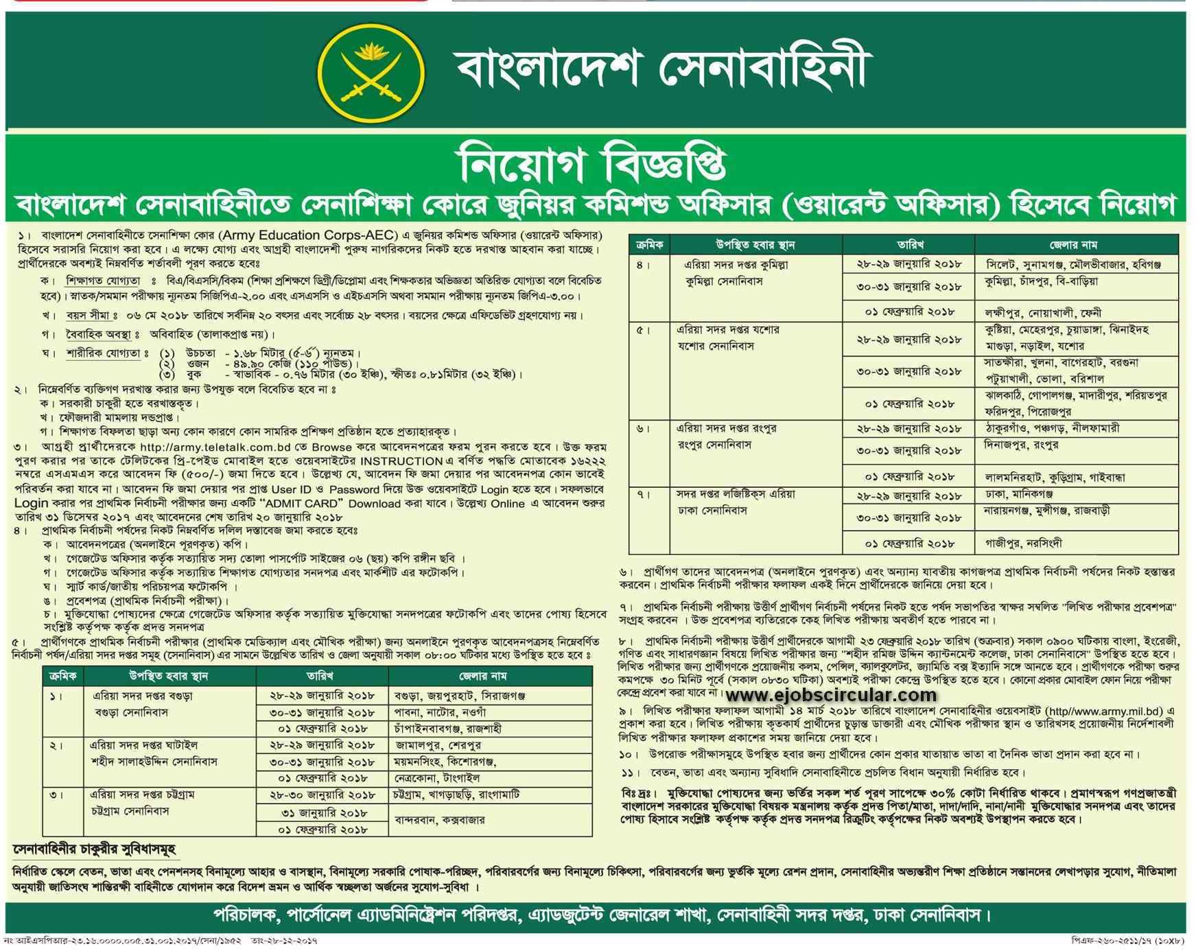 Sainik Recruitment in Bangladesh Army 2018 – www army mil bd