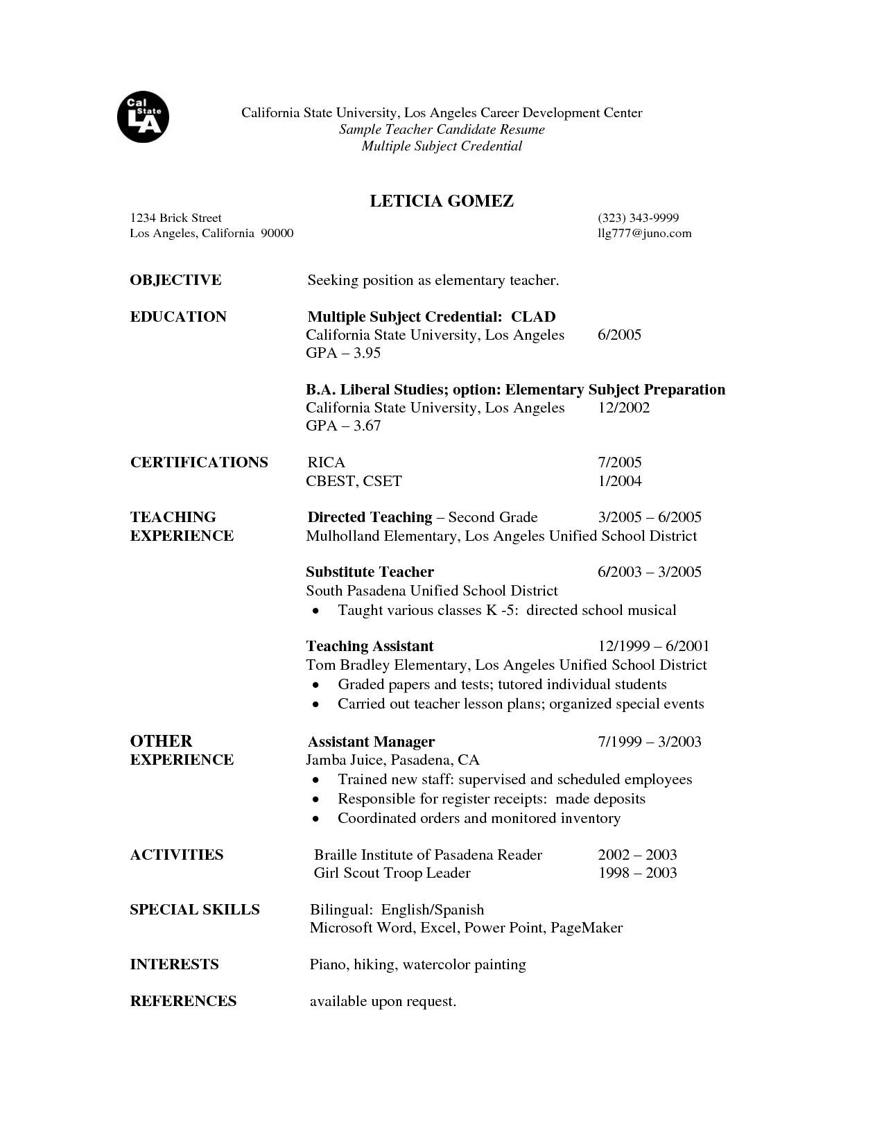 teachers resume Educators Professional Résumés has been