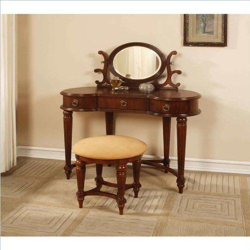 kidney shaped vanity table of # Powell Antique Mahogany Vanity