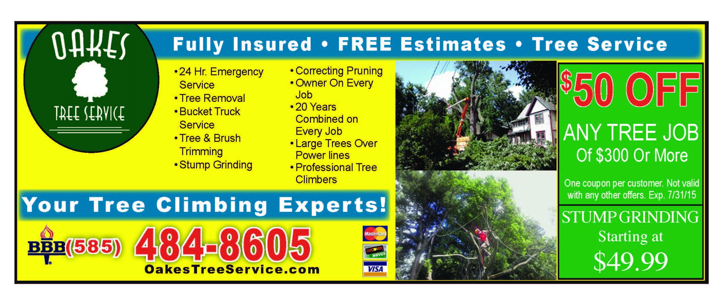 Oakes Tree Service coupons and specials