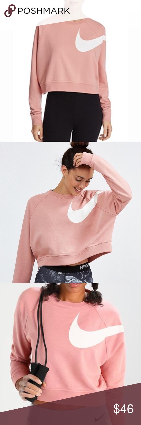 Nike Pink Swoosh Cropped Sweatshirt Crop Sweatshirt Clothes Design Sweatshirts [ 1740 x 580 Pixel ]