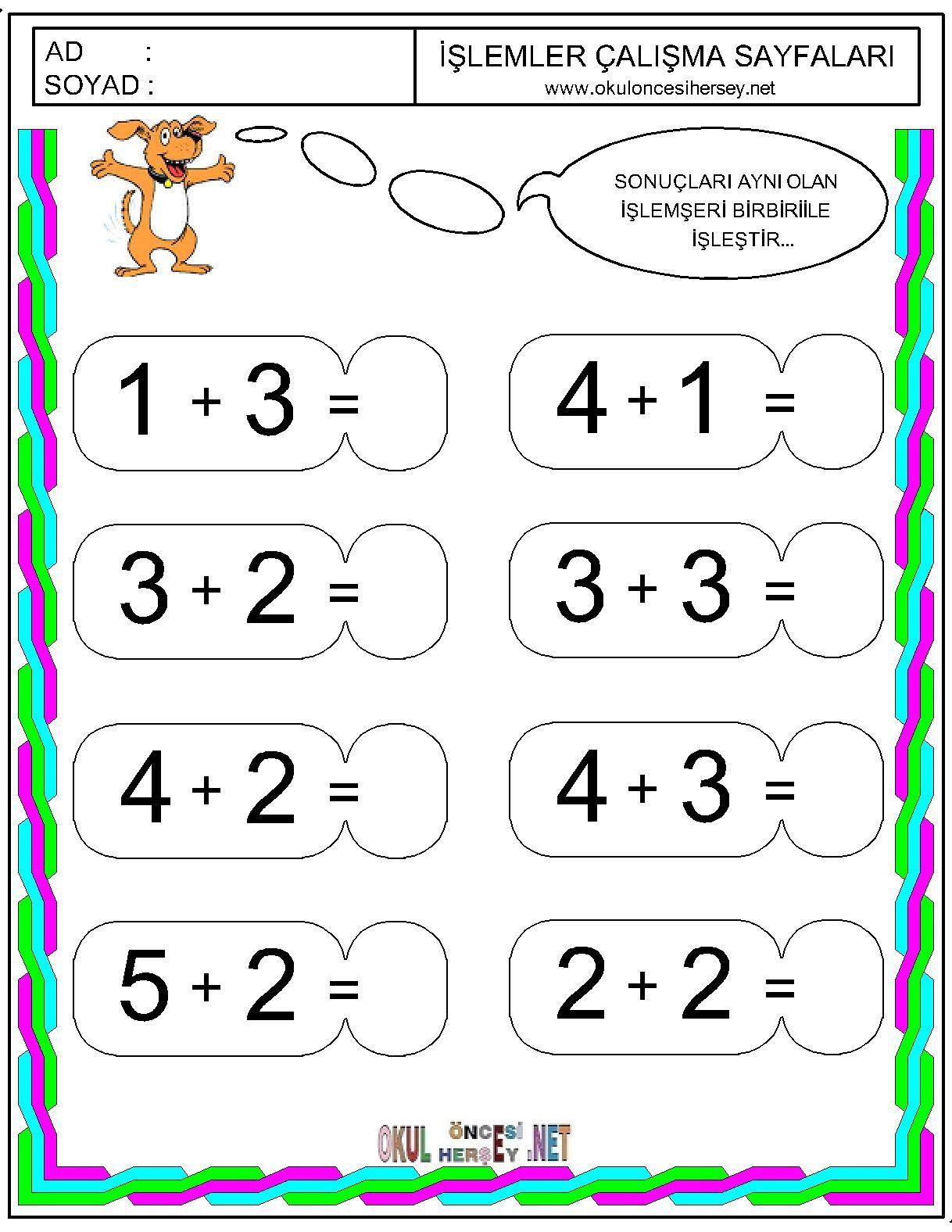 Okul Oncesi Matematik Calisma Sayfalari Google Da Ara Okul