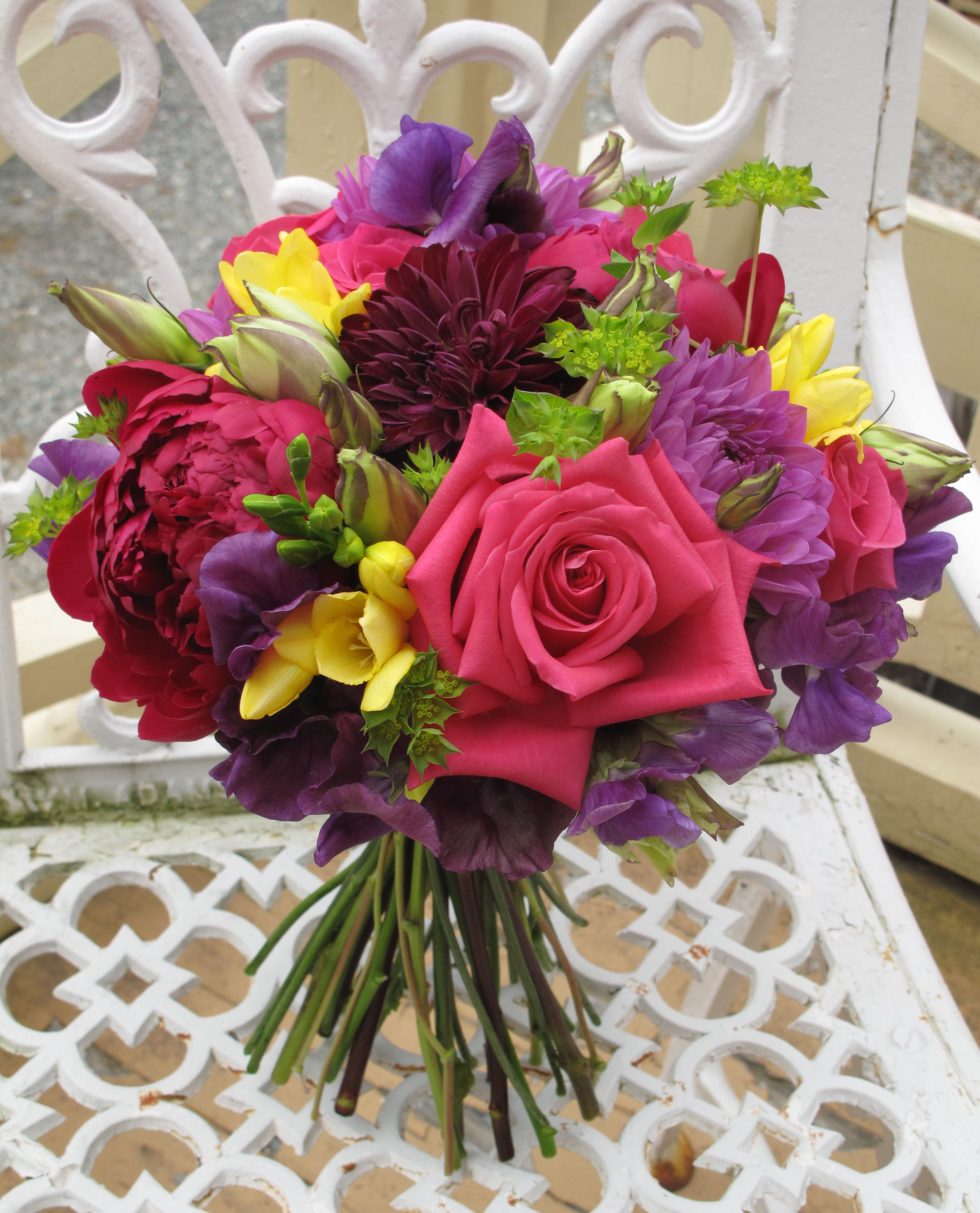 Raspberry Pink, Purple, Yellow And Green Wedding Bouquet By Alison