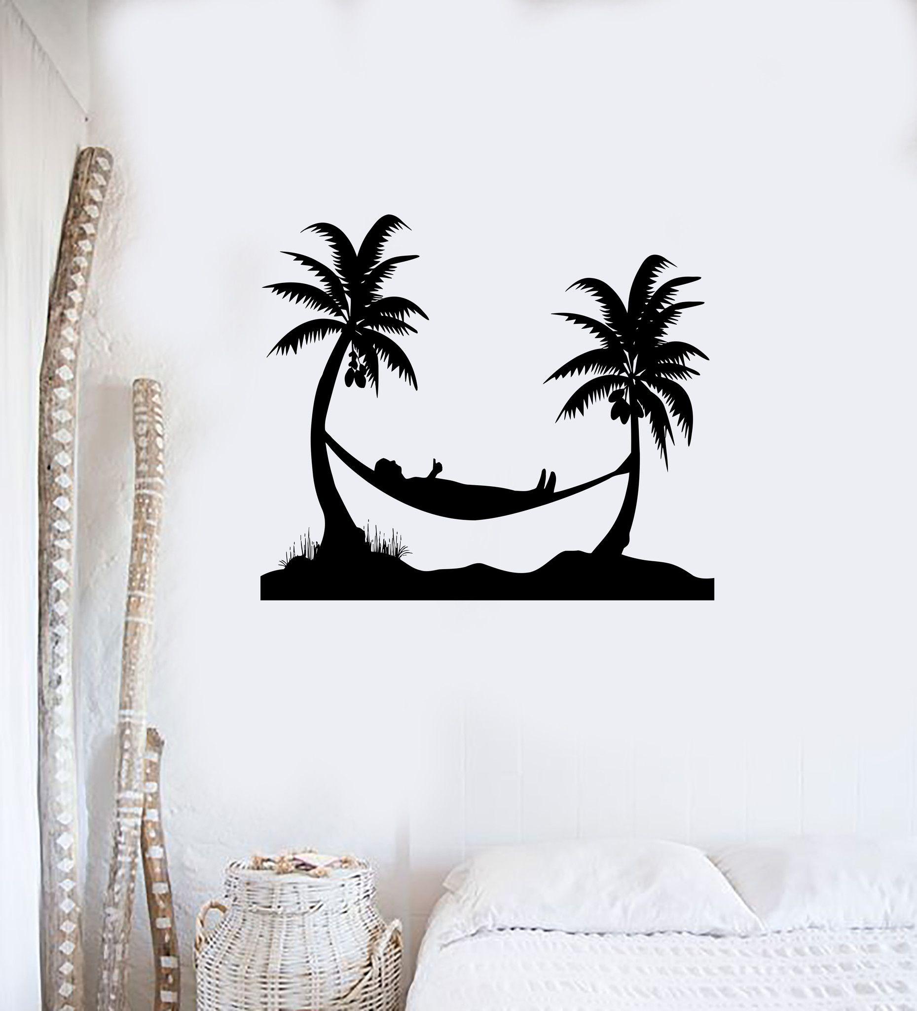 Wall Sticker Vinyl Decal Palm Beach Tropical Relax Hammock ig1859
