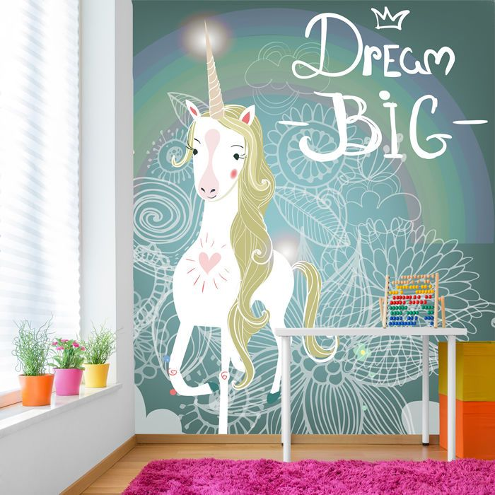 White Unicorn Wall Mural Dream Big Photo Wallpaper Girls Room Nursery Home Decor