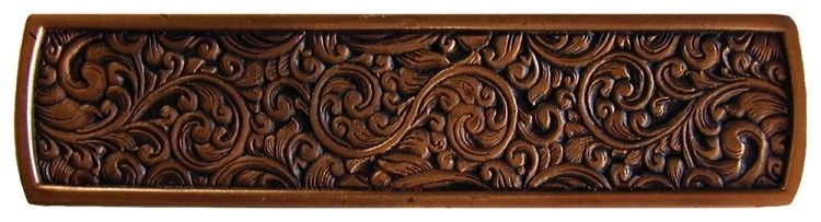 Saddleworth Tooled Leather Look Drawer Pull 3 7 8 Inch Antique