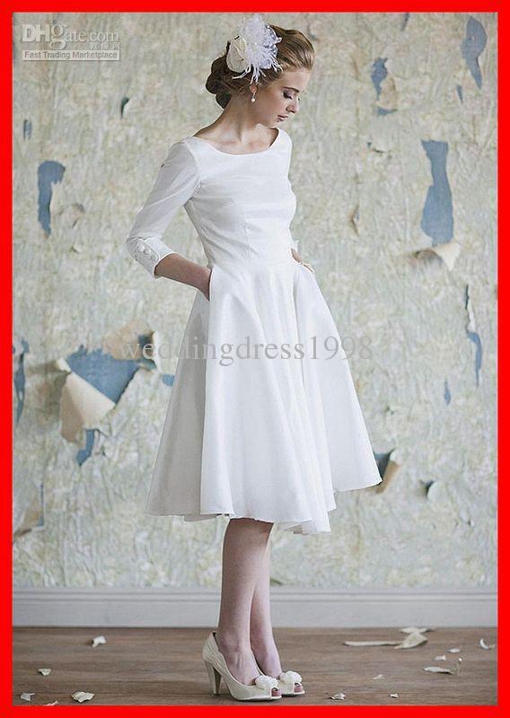 Traditional Design Long Sleeves A Line Knee Length Wedding Dresses Beach Boatneck S Wedding Dress With Pockets Tea Length Wedding Dress Wedding Dresses Taffeta
