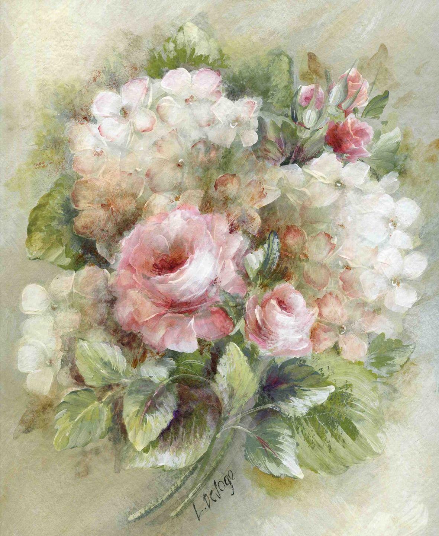 Tableau Peinture Bouquet D Hortensias Et Roses Peintures Par