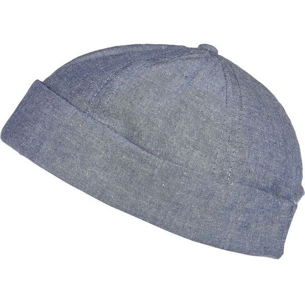 e664ee32225 River Island Light blue docker cap ( 15) ❤ liked on Polyvore featuring  men s fashion