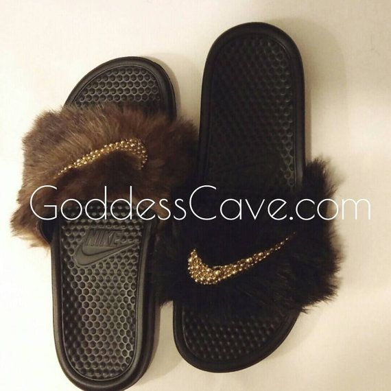 265416430f28 Faux fur with gold OR silver pearl Nike swoosh