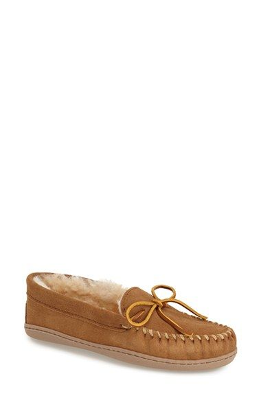 Minnetonka Sheepskin Hard Sole Moccasin Slipper (Women) available at #Nordstrom