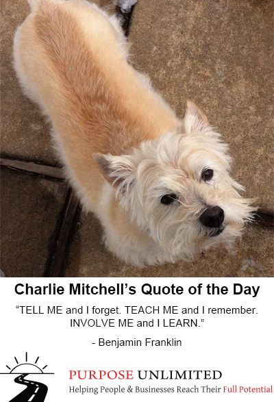 """Charlie Mitchell's Quote of the Day! """"TELL ME and I forget. TEACH ME and I remember. INVOLVE ME and I LEARN."""" - Benjamin Franklin"""