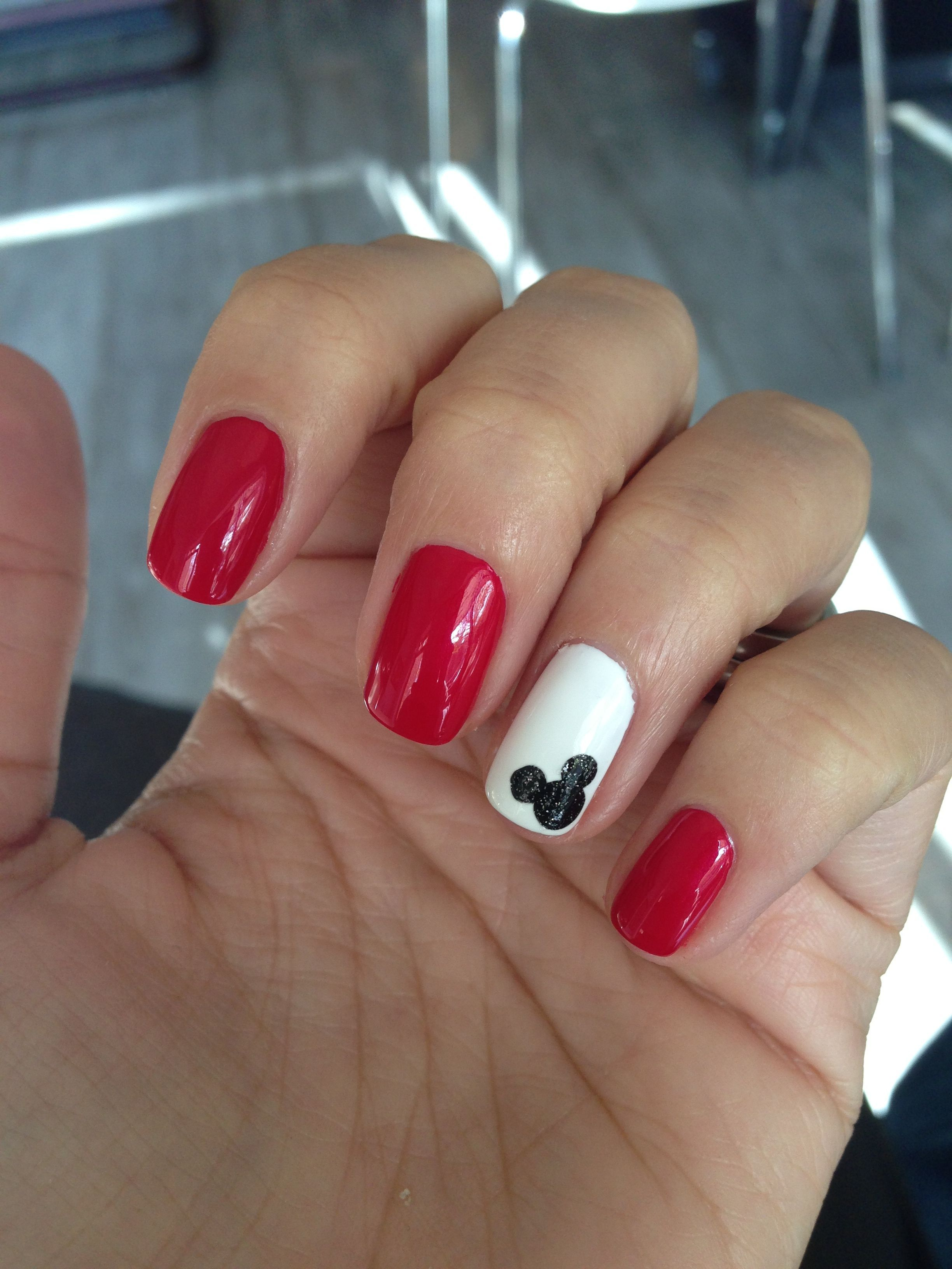 Mickey Mouse nails - nice and simple - #nails #nail art #nail #nail ...