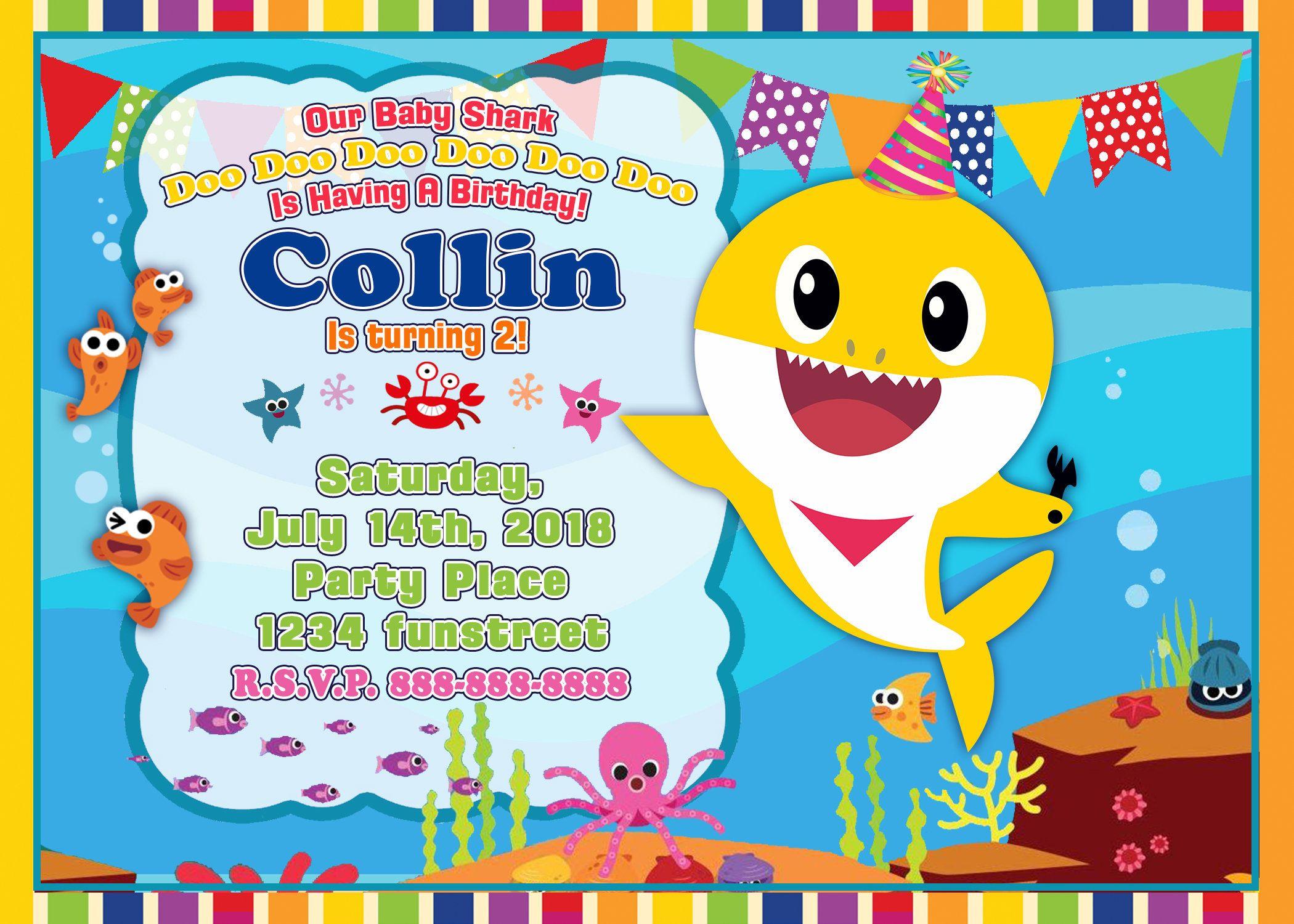 Baby Shark Birthday Invitation Baby Shark Birthday Party Etsy Shark Birthday Invitations Shark Birthday Party Invitation 1st Birthday Invitations