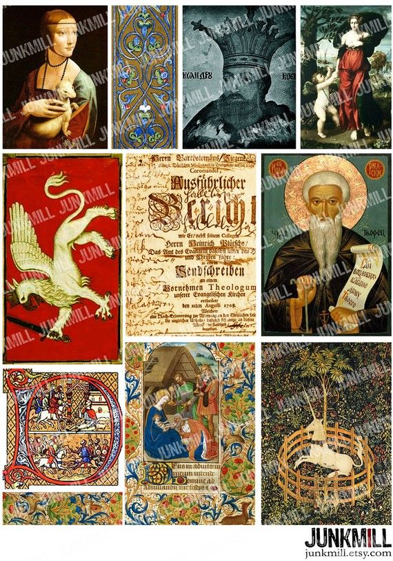 MIDDLE AGES Collage Sheet with gryphon, unicorn and illuminations, by JUNKMILL Copyright Free Images, King Arthur, Digital Collage, Collage Sheet, Middle Ages, Renaissance, Medieval, Finding Yourself, Printables