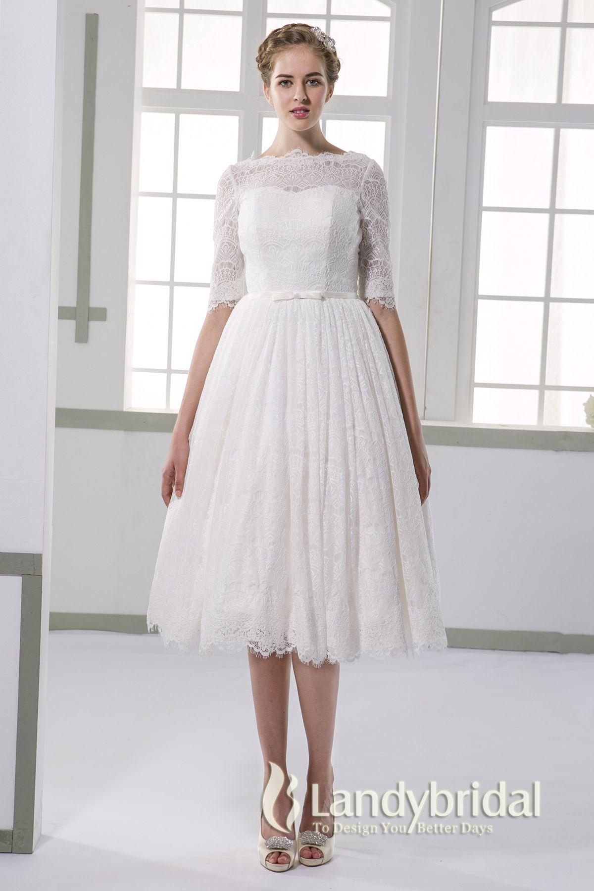 329724492555f ウェディングドレス ミモレ丈 柔らかいレース ボートネック 半袖 二次会ドレス JWXK15002 ¥36
