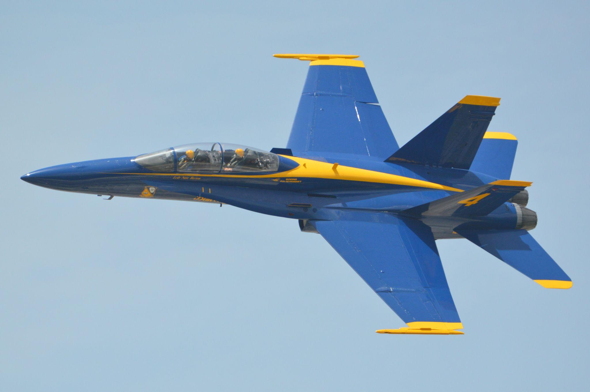 "Blue Angel 4 Blue Angel 4 doing a ""VIP"" flight near"