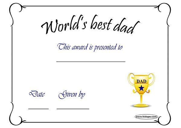 WorldSBestDadAward  Dad    Dads And Certificate
