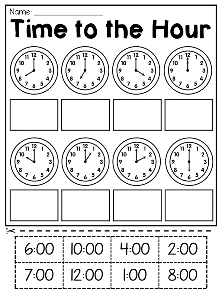 First Grade Time Worksheets Hour, Half Hour & Quarter