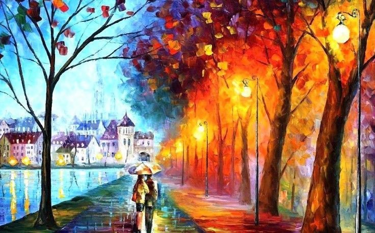 Couple, Rain, Umbrella, Rain, Painting, Colorful, Artworks