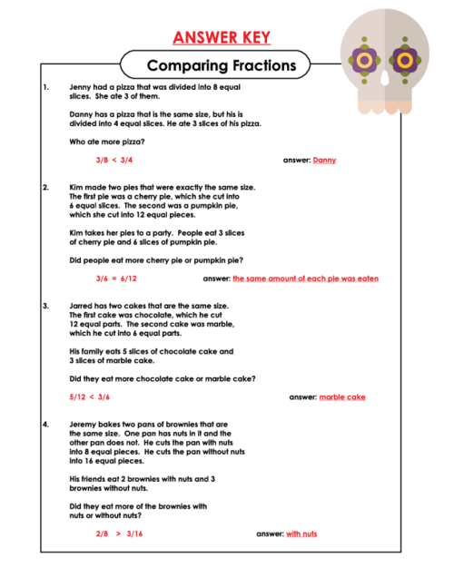 Comparing Fractions Word Problems   Word problems, Fraction word ...