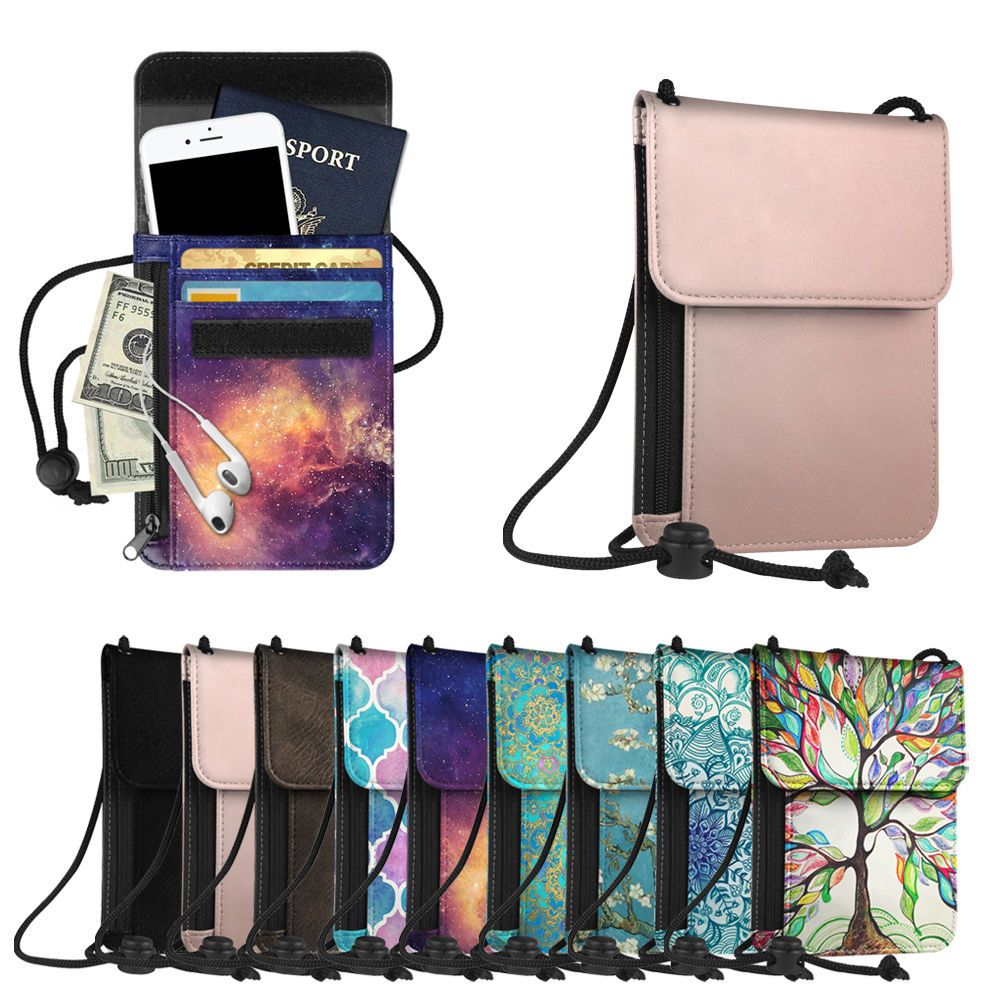 9109a0d3674 Neck Pouch PU Leather Travel Passport Holder ID Cards Cash Wallet Cellphone  Bag