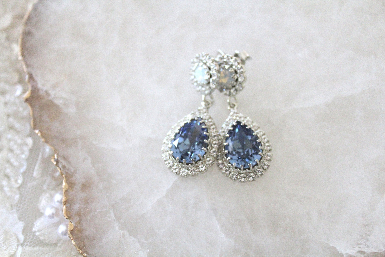 Crystal Drop Bridal Earrings Navy Blue And Opal Earrings Bridal Jewelry Teardrop Wedding Earrings Swarovski Crystal Stud Earrings Swarovski Crystal Earrings Bridal Bridal Earrings Drop Bridal Earrings