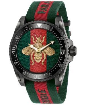 af093b82149 Gucci Unisex Swiss Le Marche Des Merveilles Unisex Green and Red Nylon  Strap Watch 45mm YA136216 - White