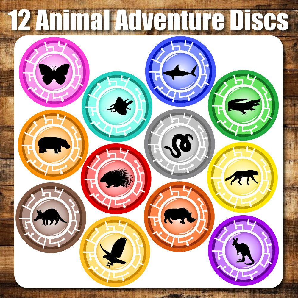 """12 Animal Adventure Discs, 4"""" PRINTABLE, Inspired by"""
