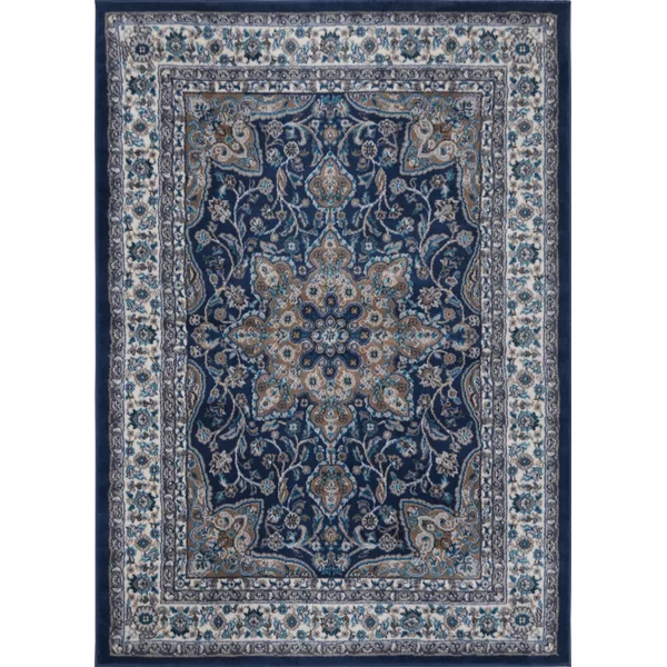Arend Oriental Navy Blue White Area Rug Blue Area Rugs