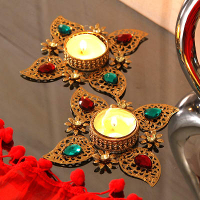 4c453ece5 This Beautiful Kundan Work Diyas will add to the overall Diwali decor of  your house.