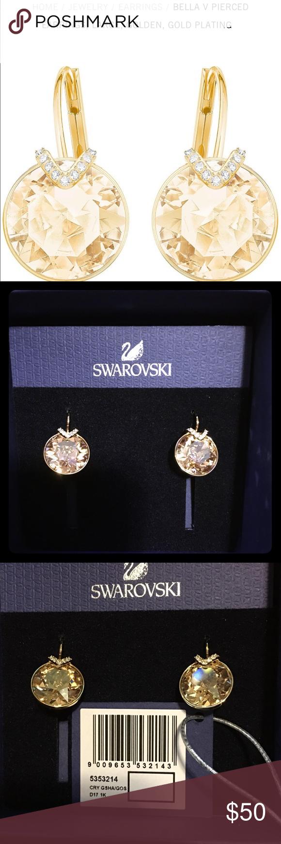 c707026e3 SWAROVSKI EARRINGS, LARGE, GOLDEN, GOLD PLATE Brand new Swarovski Bella V  style earrings, large, golden, gold plating. Style 535214.