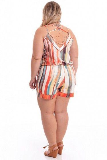 482499fef0 Macacão Plus Size Arco Iris Plus Size Shorts