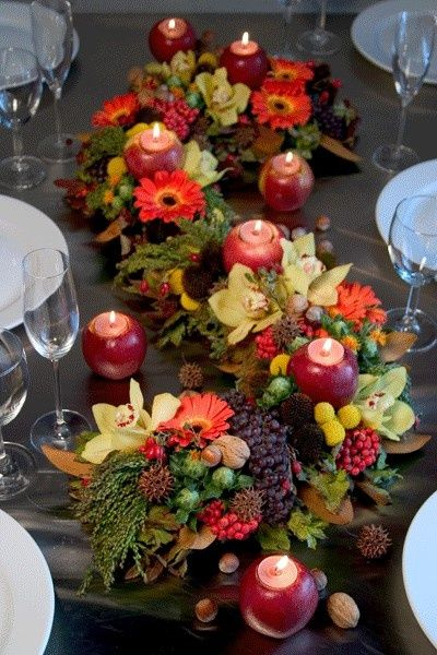 for a long table - interesting idea. Rather than having several smaller decorations