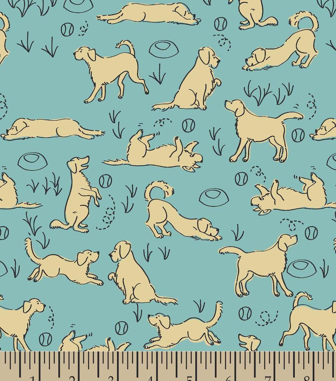 Playful Golden Retriever Print Fabric Joann Printing On Fabric Golden Retriever Illustration Golden Retriever Quilt