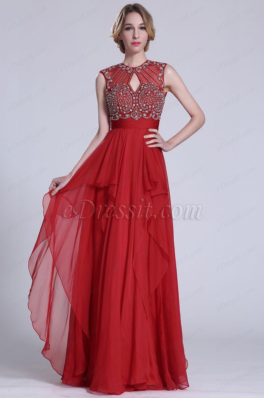Gorgeous sleeveless beaded red prom dress c edressit