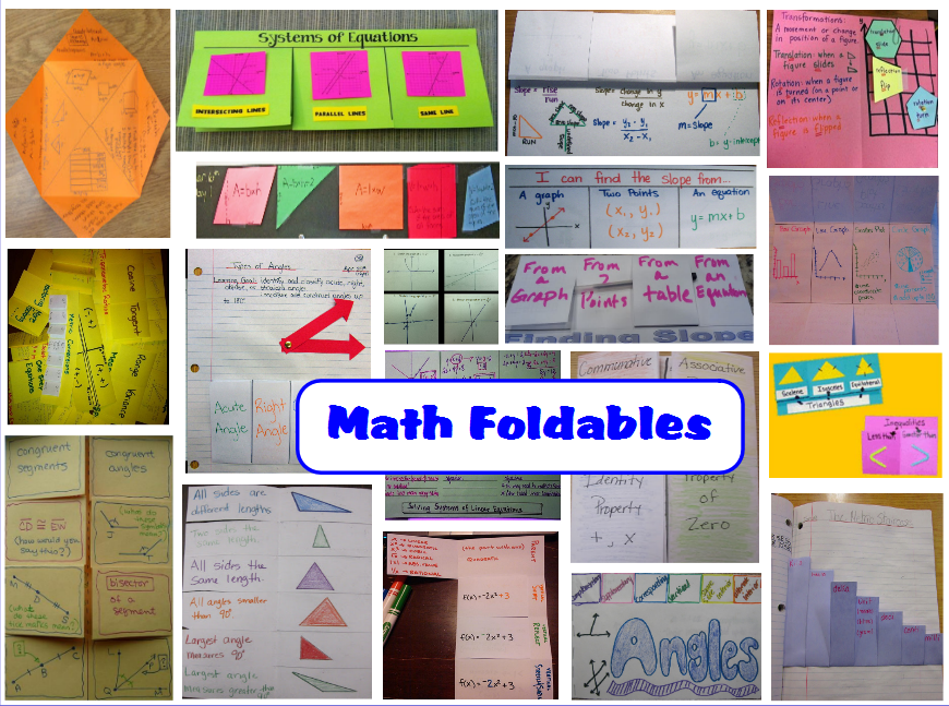 great resource with pics and links to high school math foldable ...