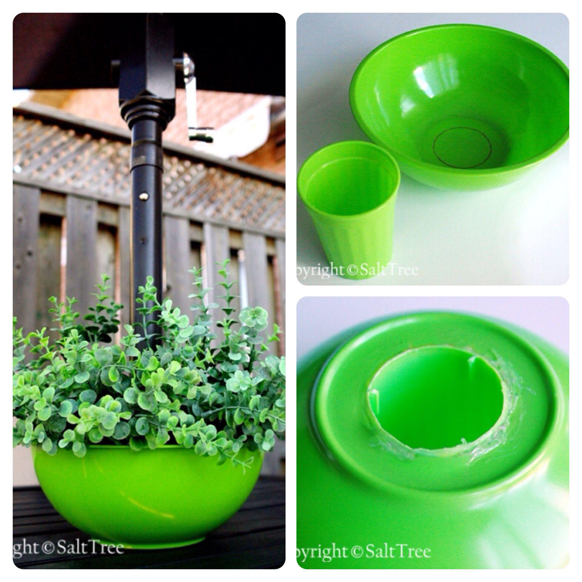 DIY PATIO TABLE UMBRELLA PLANTER. Buy a plastic bowl and a