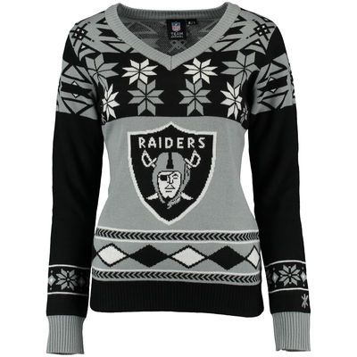 Oakland Raiders Klew Womens Big Logo V Neck Ugly Sweater Black