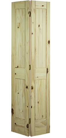Exceptionnel 2 Panel Square Top V Groove Knotty Pine Bifold Door