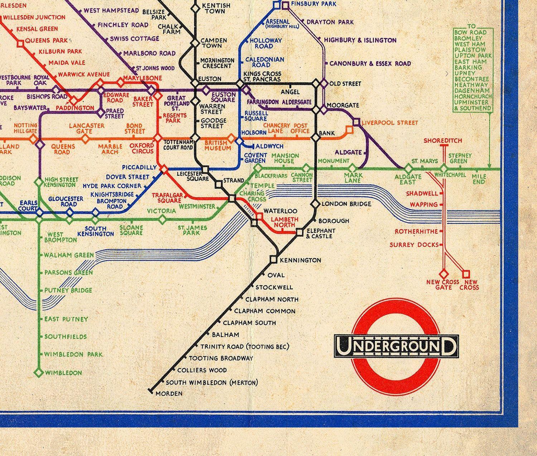 Vintage London Tube Map The Underground Antique British Vintage Map Deco England English Tourism Wwii Kitsch Lond London Tube Map London Map Vintage London
