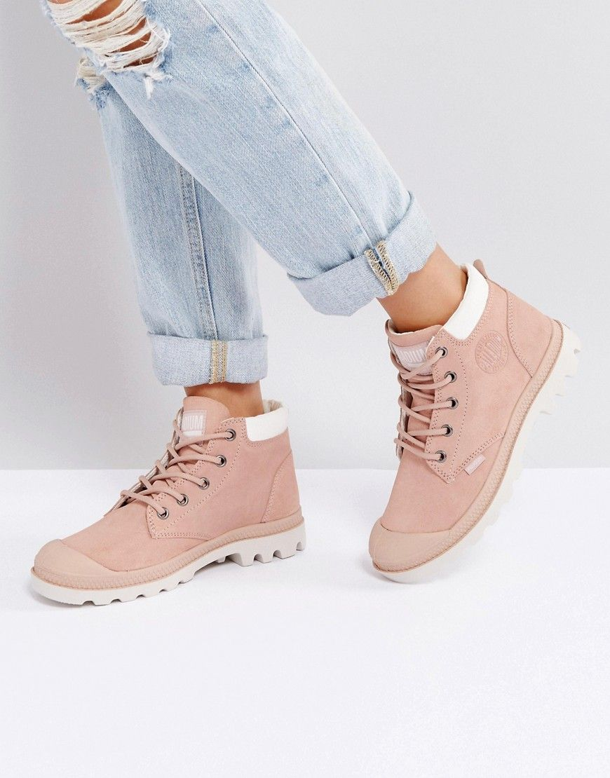 394ae1ff72be Palladium Pampa Low Cuff Rose Suede Flat Ankle Boots in 2019 ...