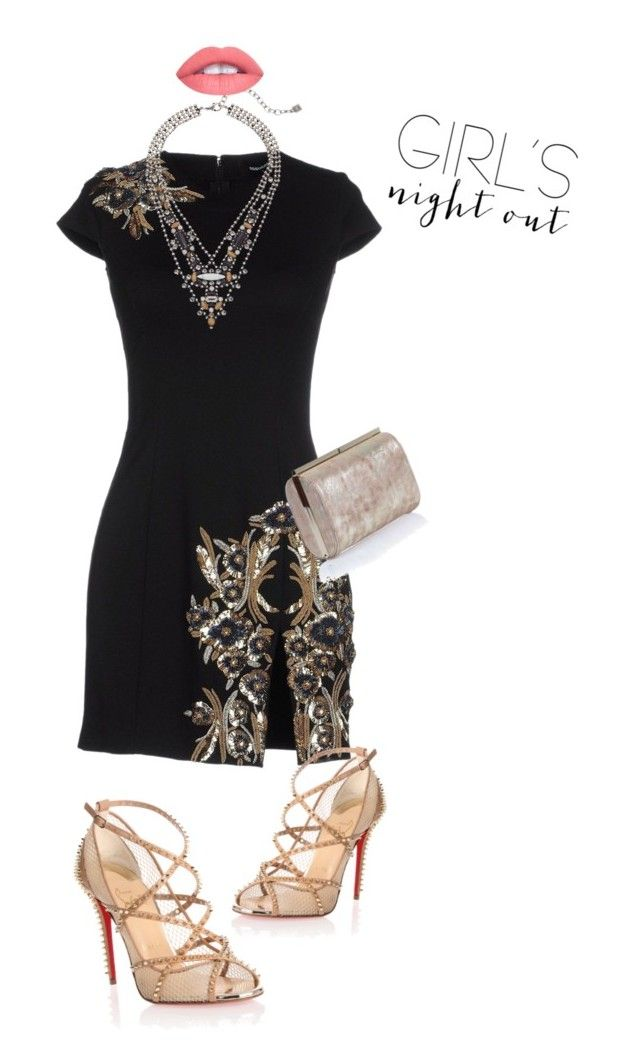 """""""out"""" by carolinems ❤ liked on Polyvore featuring Dsquared2, Christian Louboutin, DANNIJO, Jimmy Choo and girlsnightout"""