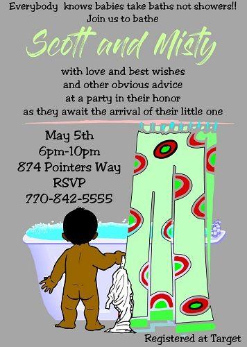 Words... super, Interracial baby shower invitations