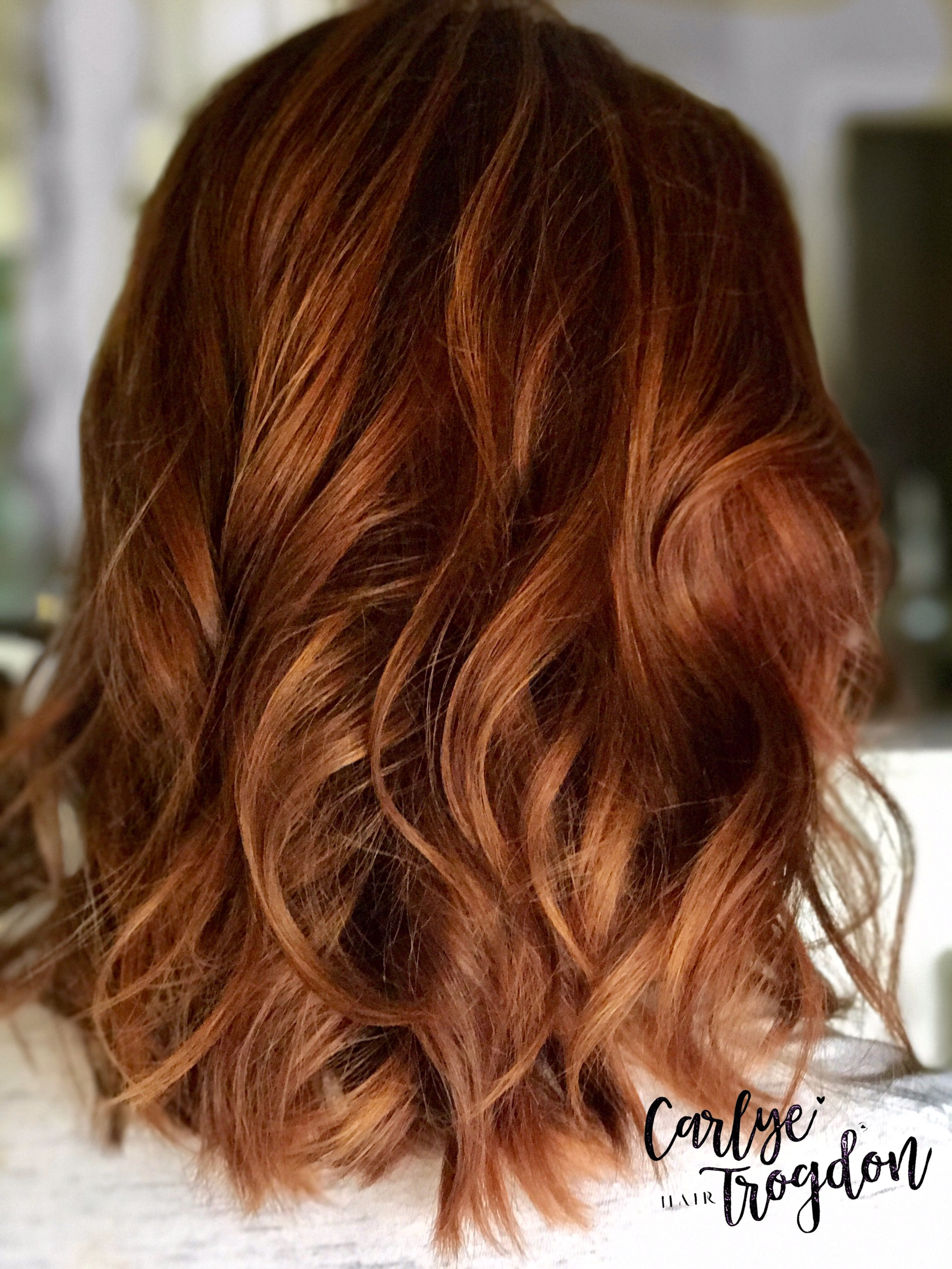 Copper and Mahogany Balayage. Soft, natural grow out for low maintenance color. This is my