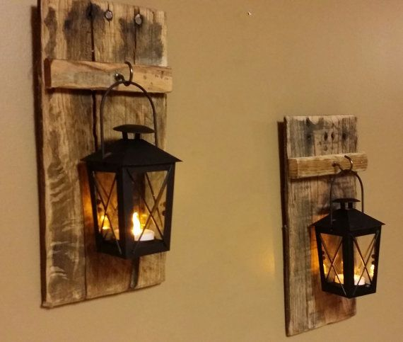 Rustic wood candle holder with lantern 12  x 5   wood sconce pallet decor Mini candle holder hanging lantern price is for 1 Each & Rustic wood candle holder with lantern 12