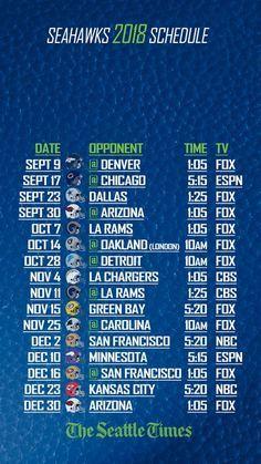 2018 Seattle Seahawks Schedule Seahawks schedule